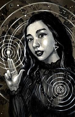 crescent, seo, illustration, art, painting, artist, painter, girl, portrait, faith, dark, girl in black