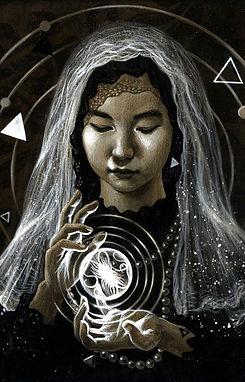 crescent, seo, illustration, art, portrait, painting, artist, painter, girl, fortune teller, veil
