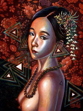 crescent, seo, illustration, art, painting, artist, painter, girl, portrait, triangle, earrings