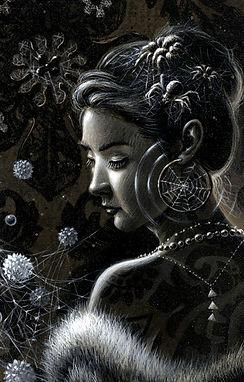 crescent, seo, illustration, art, portrait, painting, artist, painter, girl, spider, spiders, spider egg