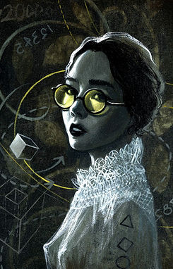 crescent, seo, illustration, art, painting, artist, painter, girl, portrait, glasses, math, physic, sun glasses