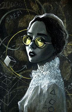 crescent, seo, illustration, art, painting, artist, painter, girl, portrait, glasses, math, physic, sun glasses