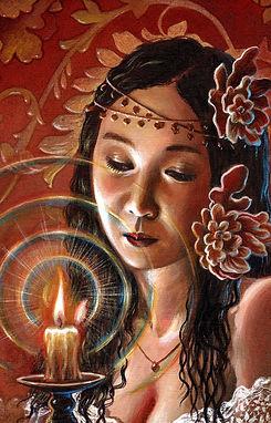 crescent, seo, illustration, art, painting, artist, painter, girl, portrait, candle, light