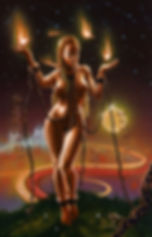 crescent, seo, illustration, art, painting, artist, painter, tarot, the wheel of fortune, nude