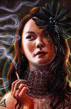 crescent, seo, illustration, art, painting, artist, painter, girl, portrait, cigarette, rainbow, pearl