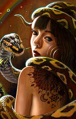 crescent, seo, illustration, art, portrait, painting, artist, painter, girl, snake, rainbow, tatoo