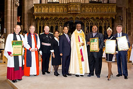 Stephen Komlosy, Patti Boulaye and other recipients of The Senior Fellows of the Order of Saint Hadrian of Canterbury presented by Archbishop Agama, His Imperial Highness Prince Ermias Sahle Selassie