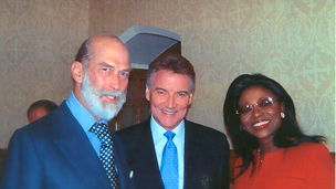His Royal Highness Prince Michael of Kent GCVO, Stephen Komlosy & Patti Boulaye at the House of Lords.