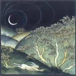 Waning Moon White Hare
