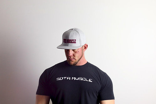 Grey Snap-Back with Maroon Stitching