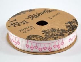 Heart ( PInk Garland) Ribbon Roll - 1 Metre