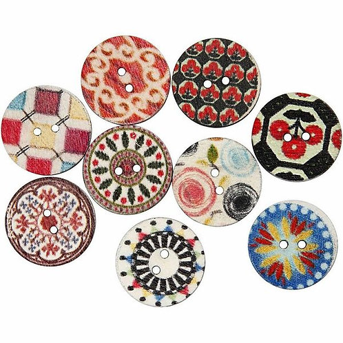 Large Deco wooden buttons - 20 mm pack of 20