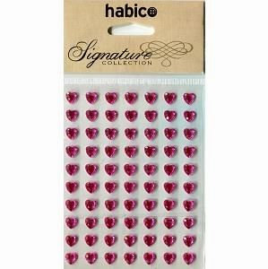 HEART GEMS CERISE - self adhesive - 70 pack