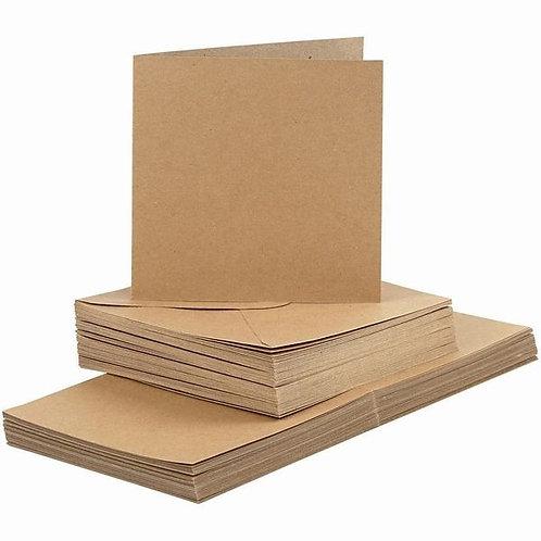 Kraft Square Card Blanks and Envelopes, card size 15x15 cm