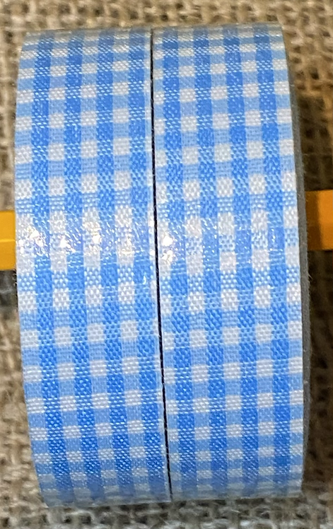 Fabric tape - 18mm  x 4 M - Light blue gingham