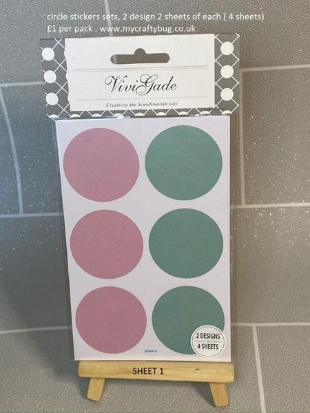 CIRCLE STICKER SHEETS, LARGE AND SMALL CIRCLES, 4 SHEETS 2 OF EACH DESIGN.