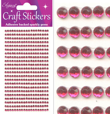 HOT PINK 3MM GEMS, 418 PCS
