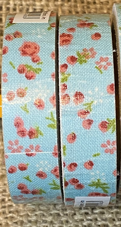 Fabric tape - 18mm  x 4M - Mint Blue and Red florals