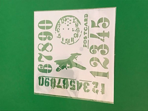 Stencil 13 cm x 13cm - Plane & Container Numbers