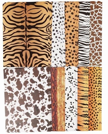 ANIMAL PRINT CARD - A4 - 300G - 10 SHEETS - 1 OF EACH DESIGN