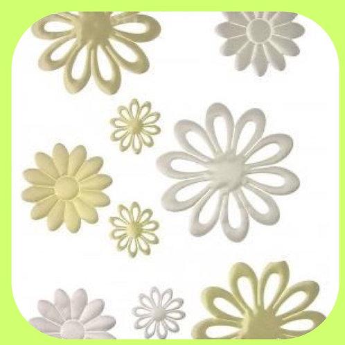 FABRIC PUFFED FLOWERS - WHITE/CREAM - CO-ORDINATES RANGE