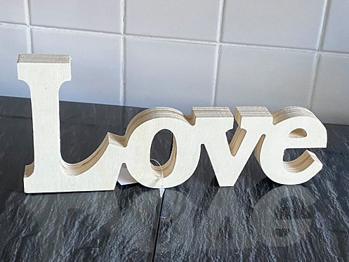 "THICK, FREESTANDING WOODEN WORD "" LOVE"""