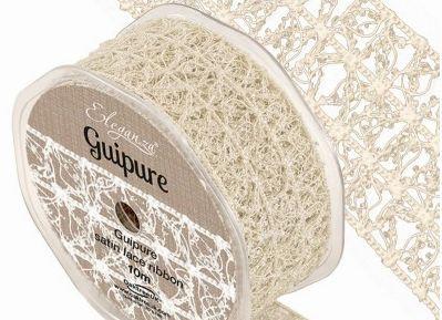 Eleganza Guipure Satin Lace Ribbon 15mm  - Ivory