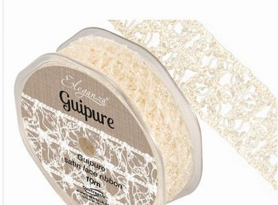 Eleganza Guipure Satin Lace Ribbon 25mm  - Ivory