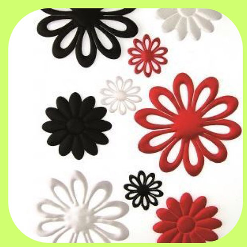 FABRIC PUFFED FLOWERS (10) - RED,WHITE/BLACK - CO-ORDINATIONS RANGE