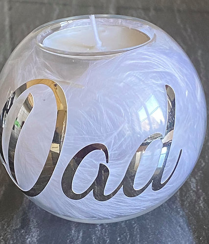 MEMORIAL TEA LIGHT HOLDERS ( DAD) MALE - GOLD OR SILVER