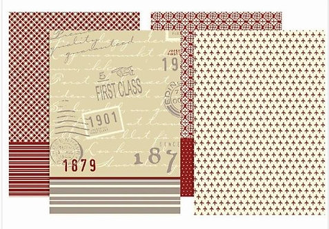 DECOUPAGE PAPER  REDS, GREYS & CREAM- 8 SHEETS - 4 STYLES 2 OF EACH