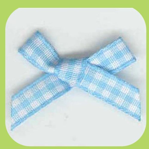 GINGHAM BOWS BLUE - 10 PACK
