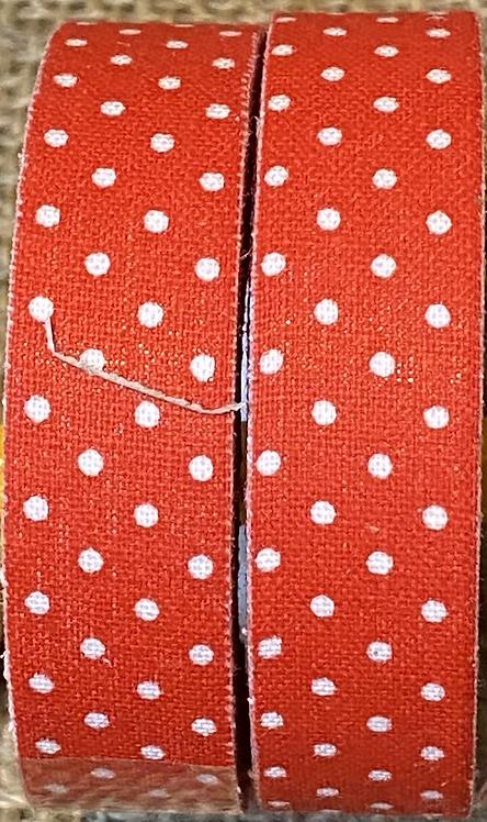 Fabric tape - 18mm x 4M - Red polka dots