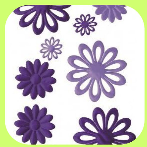 FABRIC PUFFED FLOWERS - PURPLES - CO-ORDINATIONS RANGE