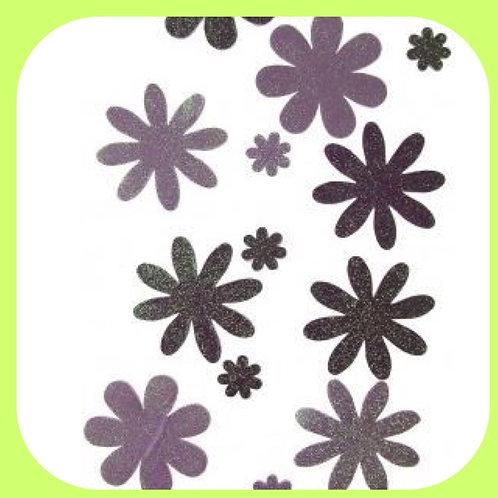 GLITTER FOAM FLOWERS - PURPLES - 13PCS - CO-ORDINATIONS RANGE