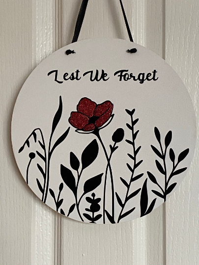 REMEMBRANCE DAY ROUND GLITTERED PLAQUE - 25CM