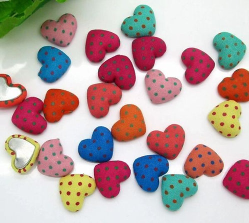 HEART SHAPED - FABRIC BUTTONS -POLKA DOTS 17MM X 14MM (10 PACK)