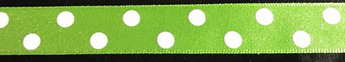 GREEN POLKA DOT RIBBON - 25MM/ 1 MTR LENGTH