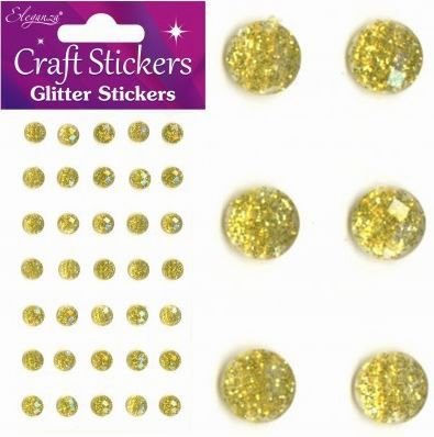 GOLD GLITTER GEMS - 8MM