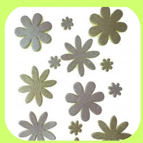 GLITTER FOAM FLOWERS - WHITE/CREAM - 13PCS - CO-ORDINATIONS