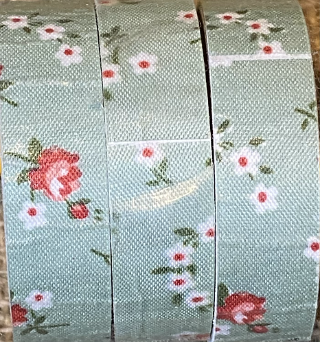 Fabric tape - 18mm x 4M - Mid Green Floral