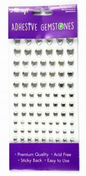 HEART GEMS 4 SIZES - 87 PACK -SILVER