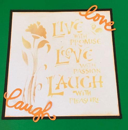 Stencil -LIVE, LOVE, LAUGH - 13 x 13cm
