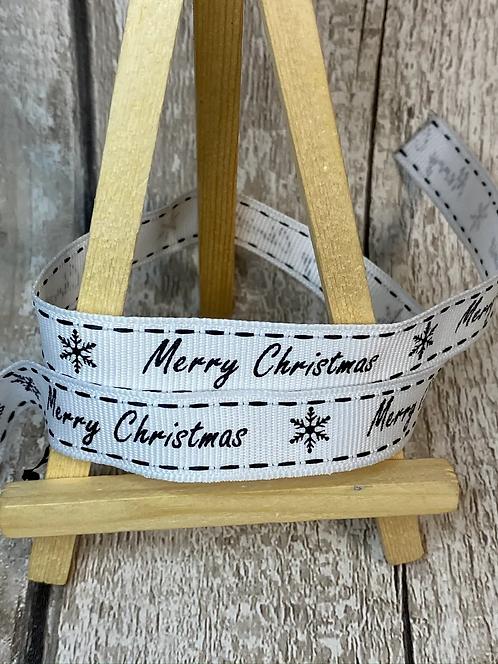 MONOCHROME MERRY CHRISTMAS COTTON RIBBON - 15MM (1 METRE)
