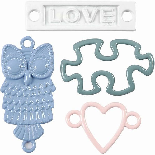 METAL CHARM EMBELLISHMENTS, PACK OF 4