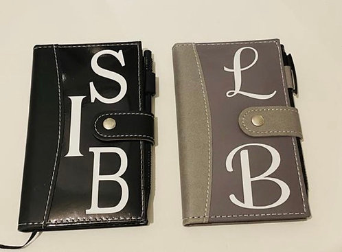 Leather look notepad and pen set - ANY INITIALS UP TO 3