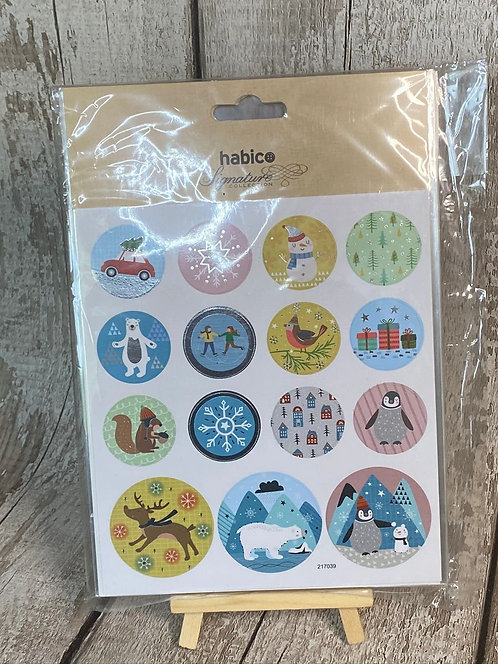 ROUND STICKERS - NORDIC STYLE XMAS - WITH FOILING