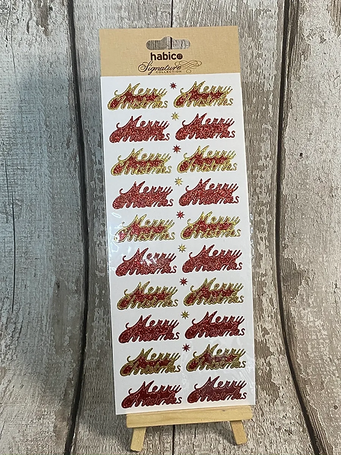 LARGE STICKER SHEET, RED MERRY CHRISTMAS AND STARS