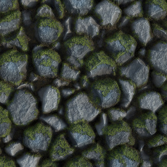 Mossy Cobbled Rocks