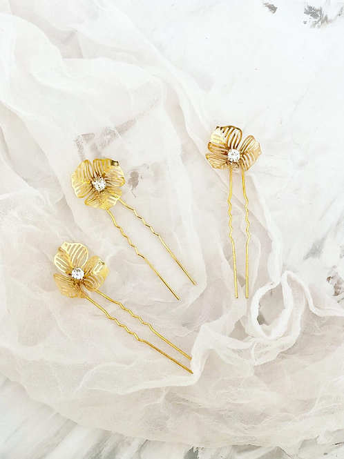 46 Poppy hair pin set
